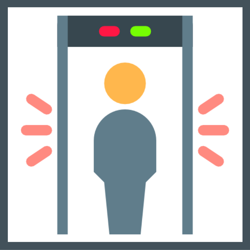 Graphic of a person going through a security detection machine that used Azure AD.