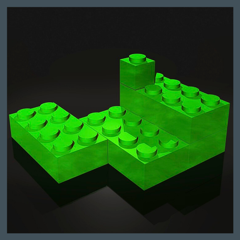 3D render of building blocks.