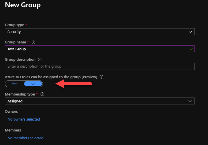 Screenshot of Azure AD Groups setup