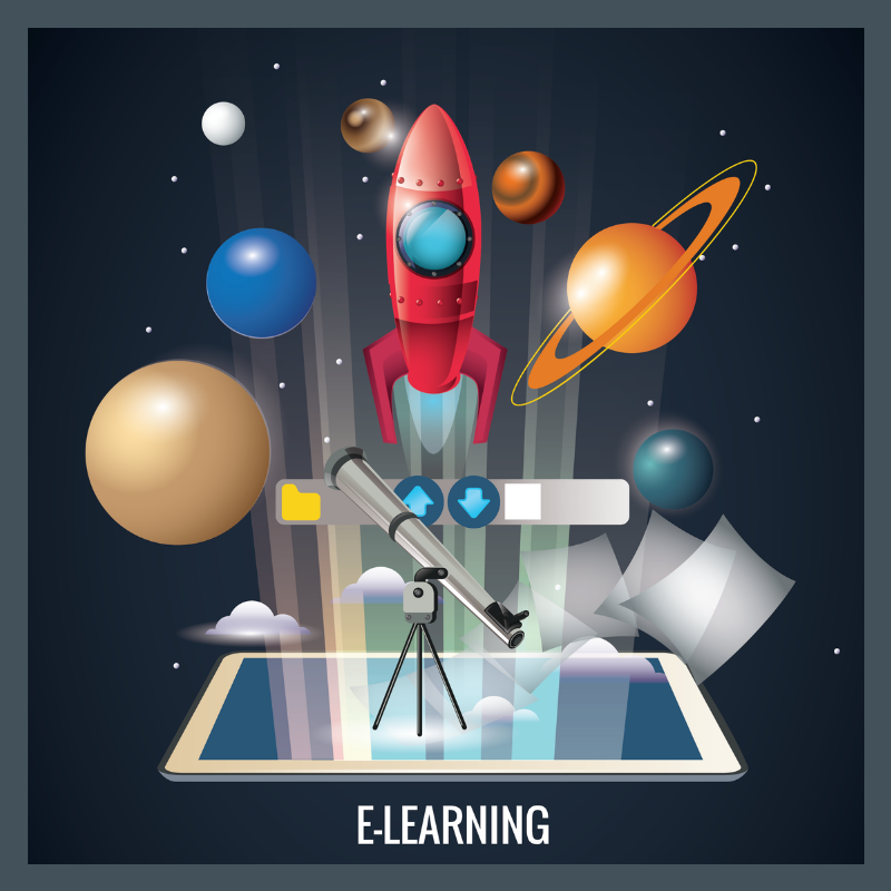 """planets surround a rocket ship and microscope that is popping out of an iPad with a title that says """"e-Learning"""" referring to cloud learning."""