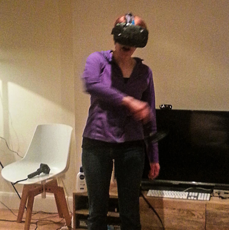 Women using an augmented reality headset.